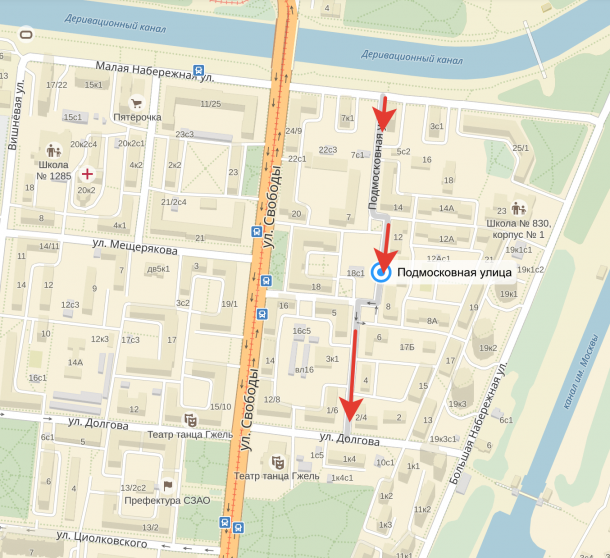 Подмосковная улица (СЗАО) станет односторонней. (с) Яндекс и Roads.ru
