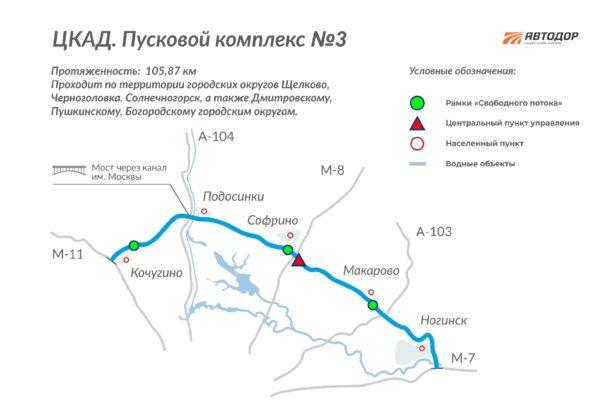 ЦКАД 3 схема ГК Автодор 2020